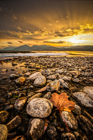 Autumn Beach Sunset - Naramata