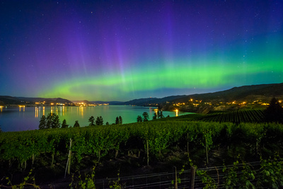 Northern Lights over Okanagan Lake and Naramata Bench