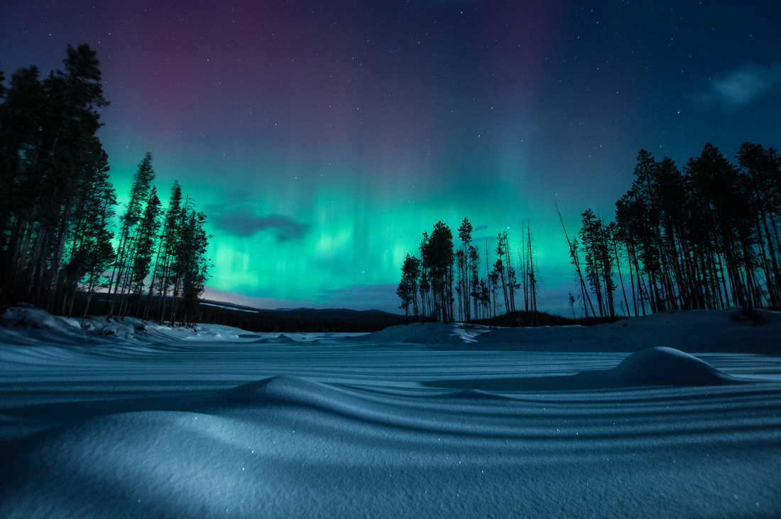 Northern Lights and moonlit snow near Penticton, British Columbia
